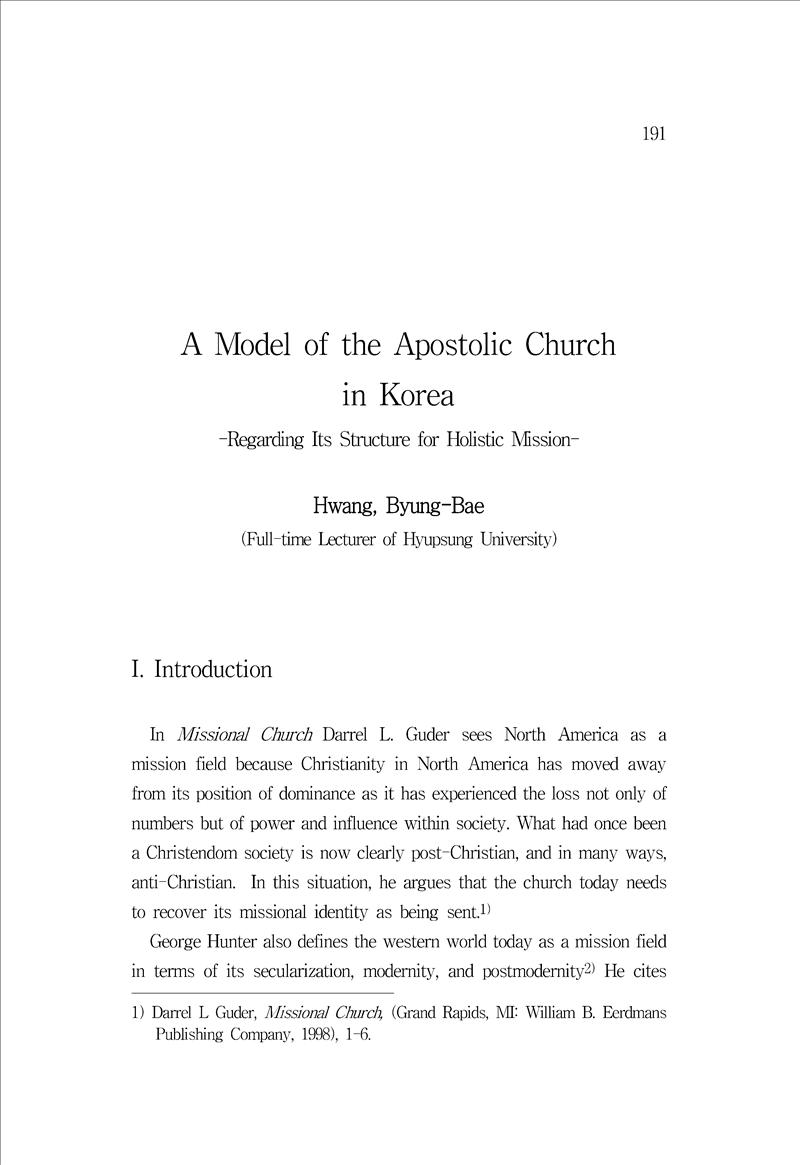 A Model of the Apostolic Church in Korea - Regarding Its Structure