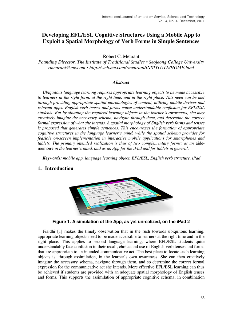 Developing EFL/ESL Cognitive Structures Using a Mobile App to
