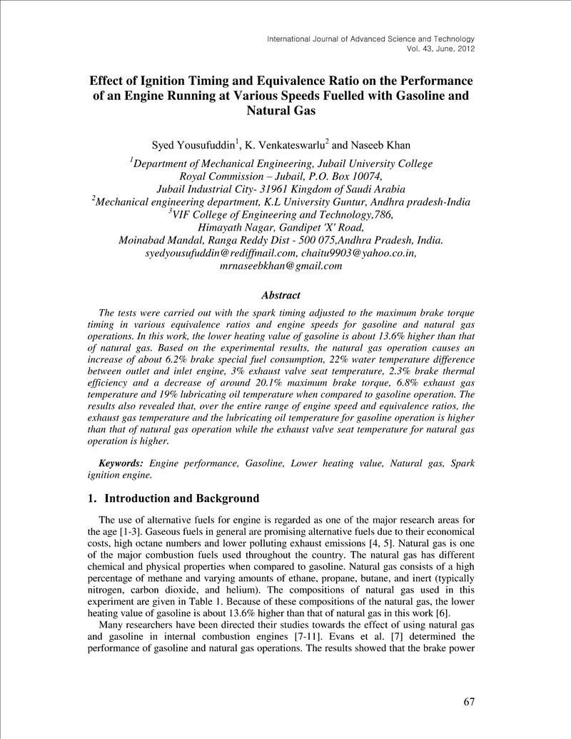 Effect of Ignition Timing and Equivalence Ratio on the