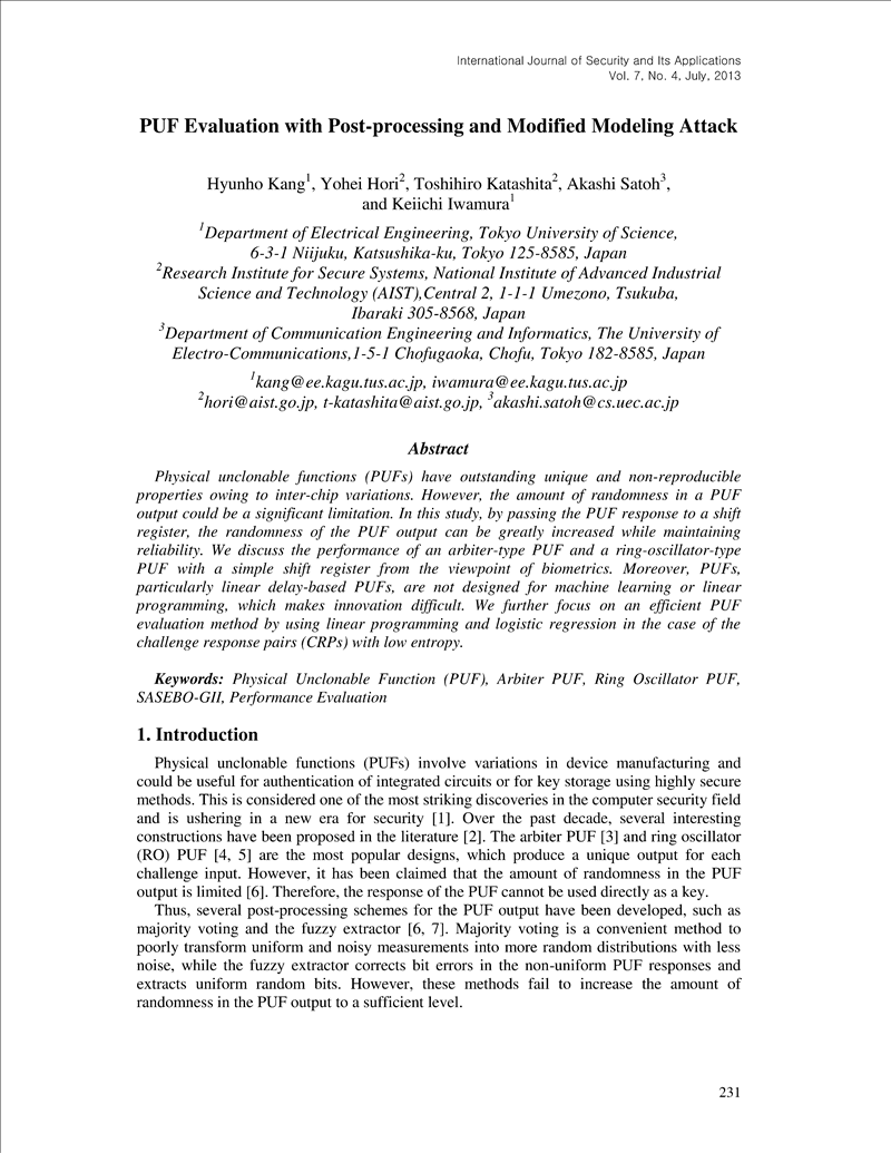 PUF Evaluation with Post-processing and Modified Modeling Attack