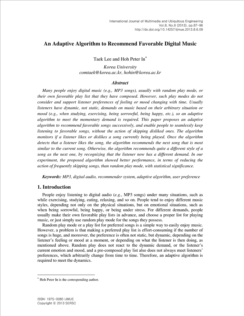 An Adaptive Algorithm to Recommend Favorable Digital Music - earticle