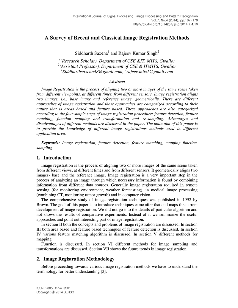 A Survey of Recent and Classical Image Registration Methods