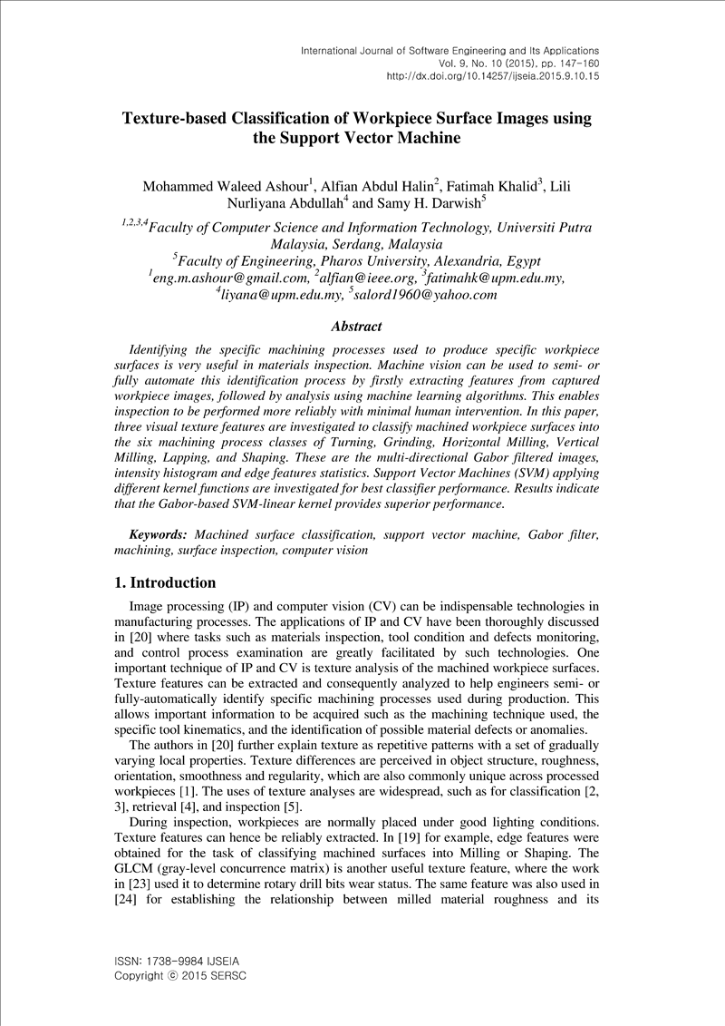 Texture-based Classification of Workpiece Surface Images using the