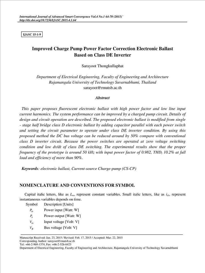 Improved Charge Pump Power Factor Correction Electronic Ballast