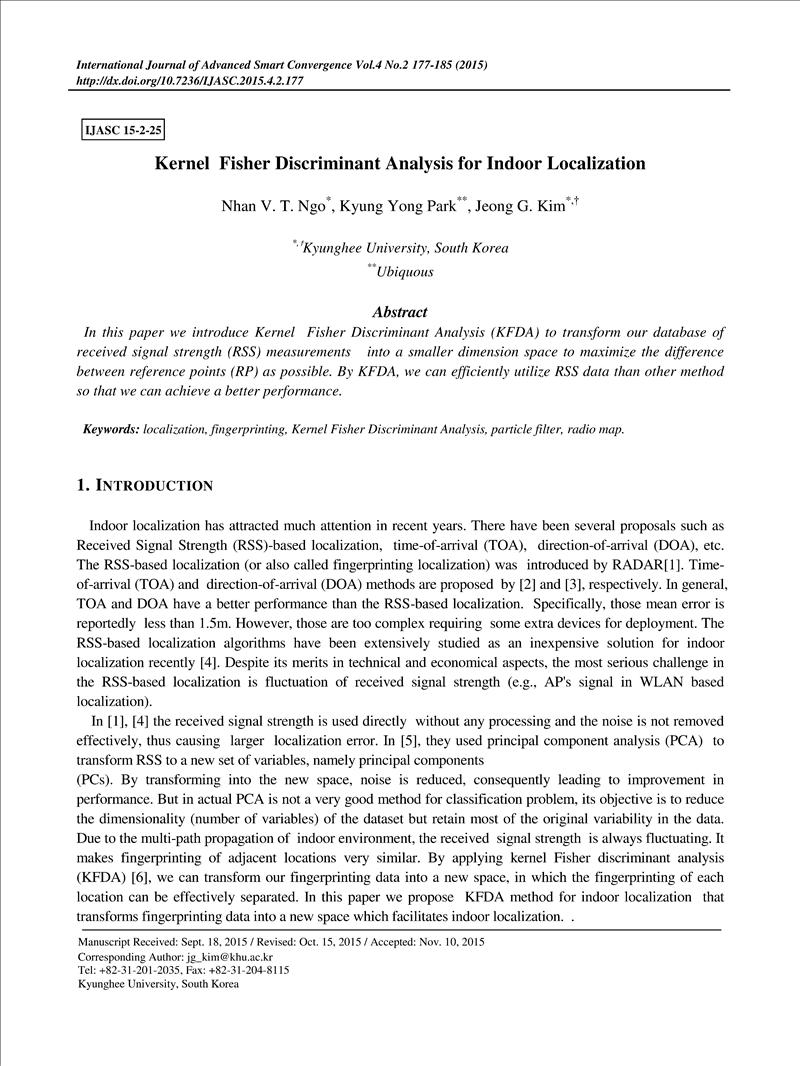 Kernel Fisher Discriminant Analysis for Indoor Localization