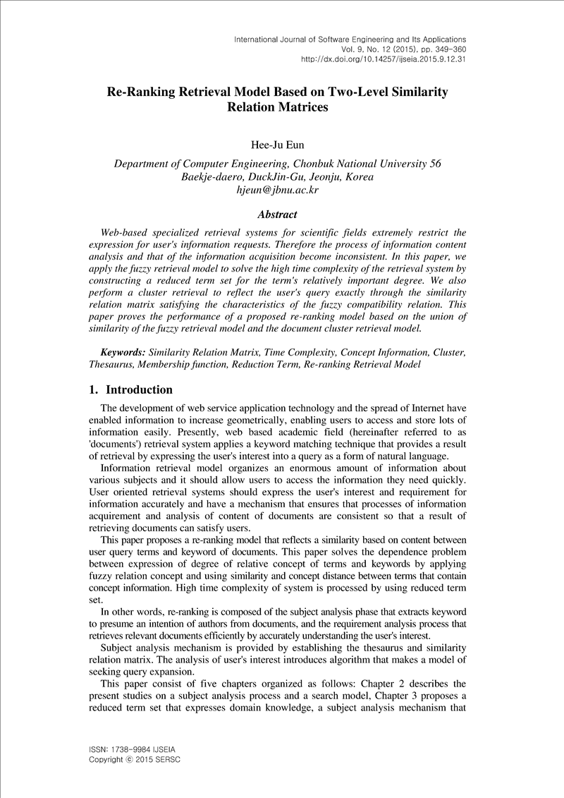 Re-Ranking Retrieval Model Based on Two-Level Similarity
