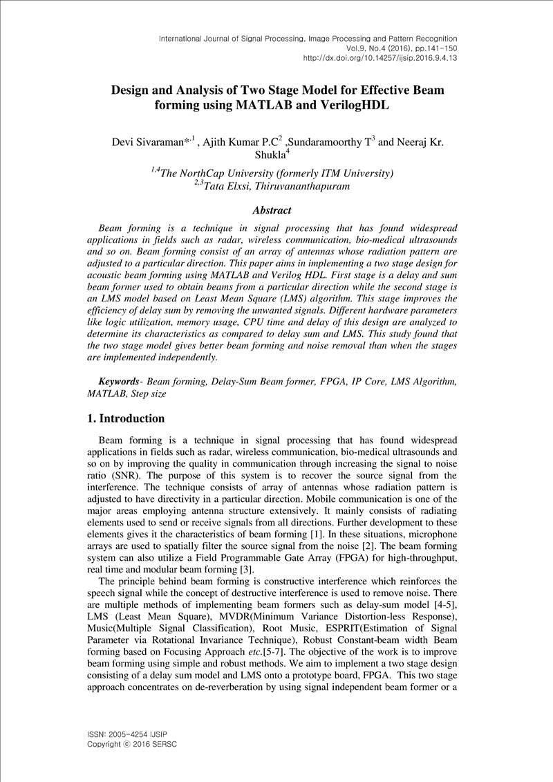 Design and Analysis of Two Stage Model for Effective Beam forming