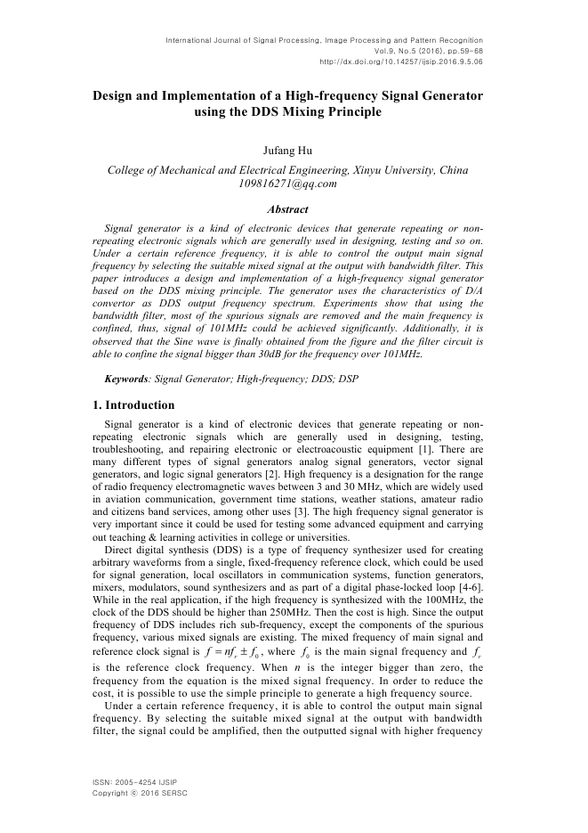 Design and Implementation of a High-frequency Signal Generator using
