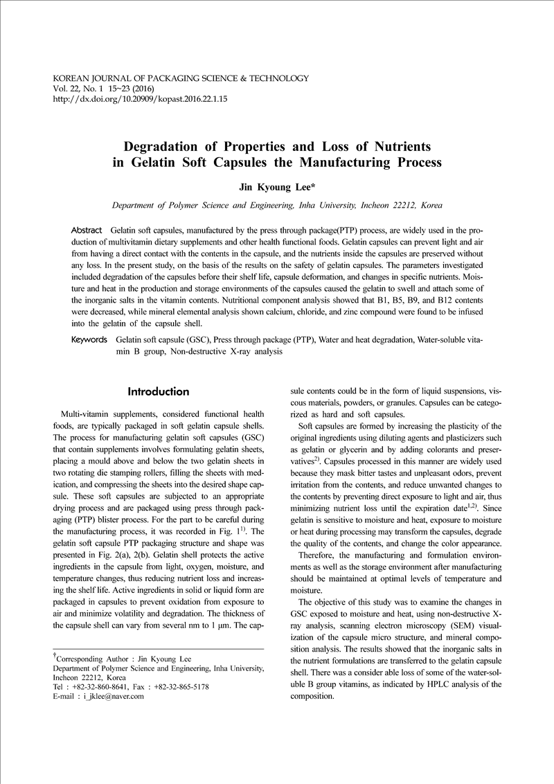 Degradation of Properties and Loss of Nutrients in Gelatin