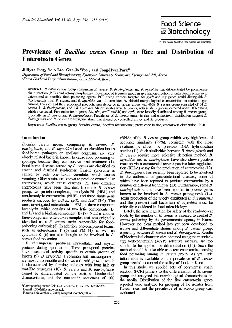 Prevalence of Bacillus cereus Group in Rice and Distribution